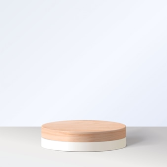 기하학적 형태와 추상 최소한의 장면. 흰색 배경에서 실린더 흰색 연단입니다. 제품 프리젠 테이션, 모의, 화장품, 연단, 무대 받침대 또는 플랫폼을 보여줍니다. 3d
