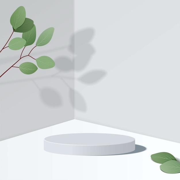 기하학적 형태와 추상 최소한의 장면. 나뭇잎과 흰색 배경에 흰색 실린더 연단. 제품 프리젠 테이션, 모의, 화장품, 연단, 무대 받침대 또는 플랫폼을 보여줍니다. 3d