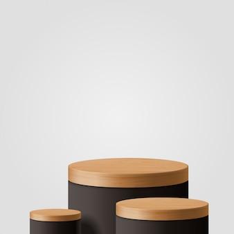 기하학적 형태와 추상 최소한의 장면. 실린더 나무와 검은 연단. 제품 발표. 연단, 무대 받침대 또는 플랫폼. 3d