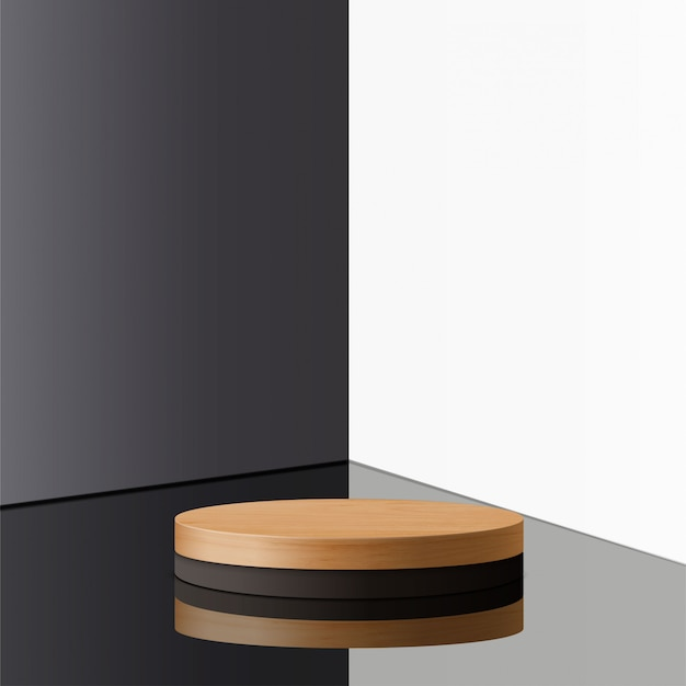 Abstract minimal scene with geometric forms. cylinder wood and black podium  . product presentation. podium, stage pedestal or platform. 3d