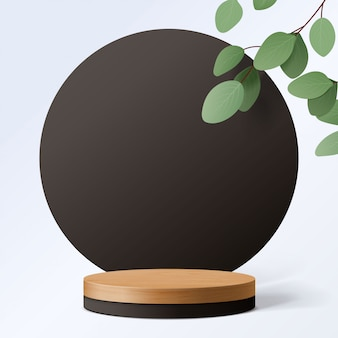 Абстрактная минимальная сцена с геометрическими формами. цилиндр деревянный подиум в белом фоне с листьями. презентация продукта. подиум, пьедестал или перрон. 3d