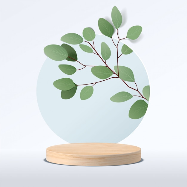 Abstract minimal scene with geometric forms. cylinder wood podium in white background with leaves. product presentation, mock up, show cosmetic product, podium, stage pedestal or platform. 3d