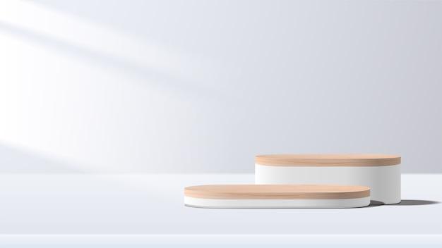 기하학적 형태의 추상 최소한의 장면. 흰색 연단. 제품 프레젠테이션, 화장품 디스플레이, 연단, 무대 받침대 또는 플랫폼을 보여줍니다.