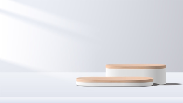 Abstract minimal scene with geometric forms. white podium. product presentation, show cosmetic product display, podium, stage pedestal or platform.