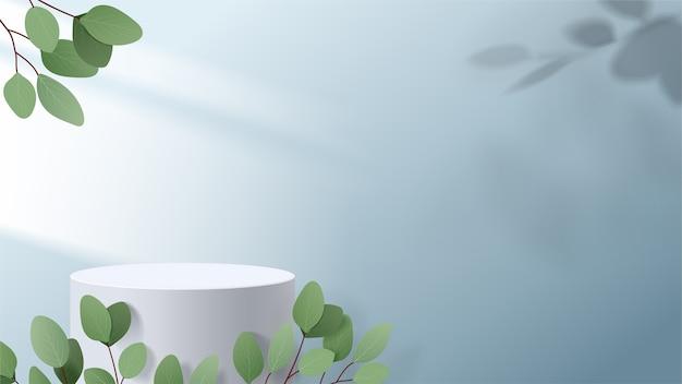 기하학적 형태의 추상 최소한의 장면. 잎 흰색 연단. 제품 프레젠테이션, 화장품 디스플레이, 연단, 무대 받침대 또는 플랫폼을 보여줍니다.