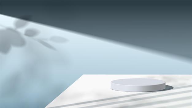 Абстрактная минимальная сцена с геометрическими формами. белый подиум с листьями. презентация продукта, показ косметического продукта, подиум, пьедестал или платформа.