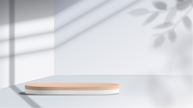 Abstract minimal scene with geometric forms. white podium with leaves. product presentation, show cosmetic product display, podium, stage pedestal or platform.