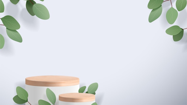 Abstract minimal scene with geometric forms. wood podium in white background with leaves.