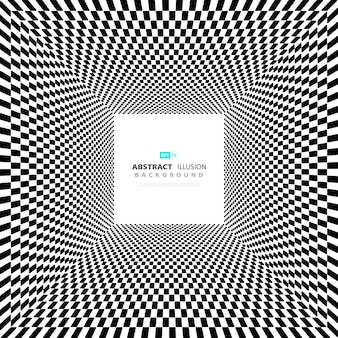 Abstract minimal square black and white illusion background