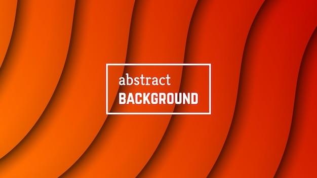 抽象的な最小波の幾何学的な背景。バナー、テンプレート、カードのオレンジ色の波のレイヤーの形。ベクトルイラスト。
