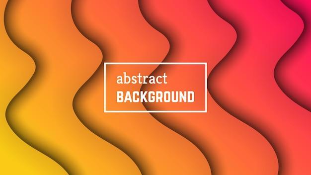 Абстрактная минимальная волна геометрического фона. форма слоя оранжевой волны для баннера, шаблонов, карточек. векторная иллюстрация.