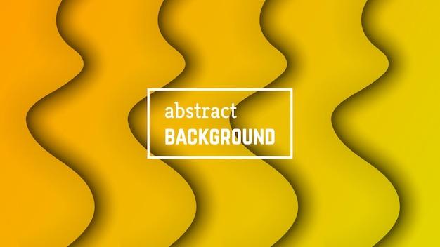 추상 최소한의 파 기하학적 배경입니다. 배너, 템플릿, 카드에 대한 노란색 물결 레이어 모양입니다. 벡터 일러스트 레이 션.