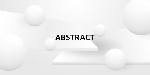 Абстрактный минимальный белый прямоугольник и фон формы круга