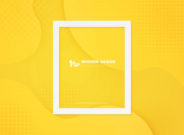 Abstract minimal yellow color of circle geometric halftone  background.