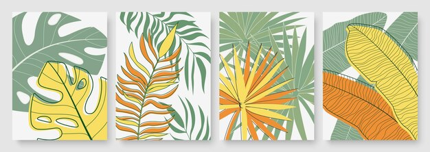 Абстрактная минимальная желто-зеленая тропическая пальма оставляет фон минималистский набор