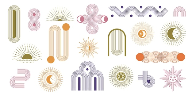 抽象的なミニマリストのアーチと幾何学的な線、太陽と月。現代の虹の形。自由奔放に生きるスタイル、現代的な美的グラフィックアートベクトルセット