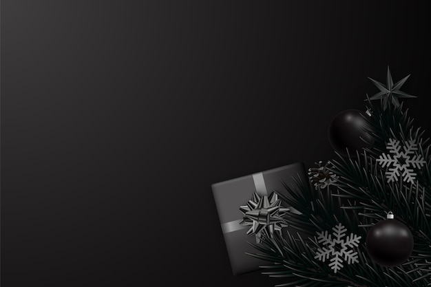 Abstract minimalist black background for christmas and new year.