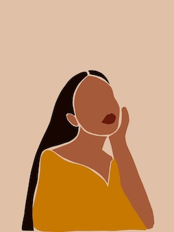 소셜 미디어 포스터 카드 벽지 벽 예술을 위한 추상적인 미니멀리즘 보호 여성 포스터