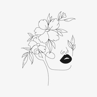 抽象的なミニマリストの植物の線画の顔