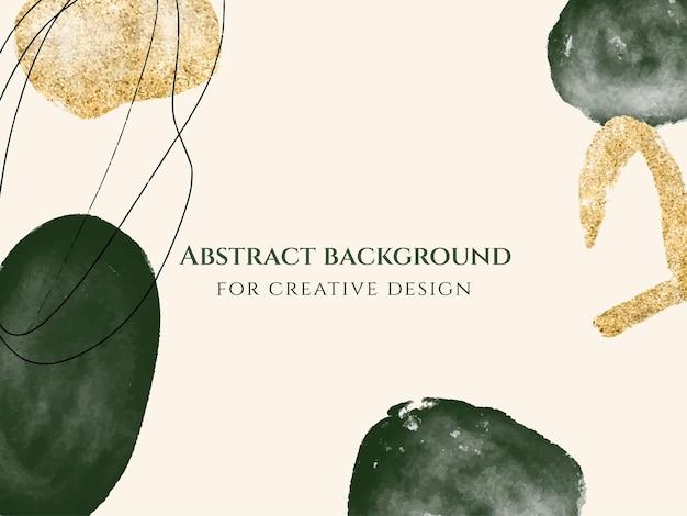 Абстрактный минималистский творческий фон с акварельными зелеными формами и золотыми блестками.