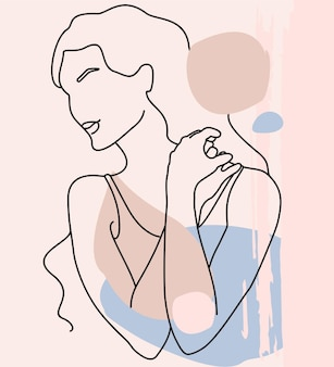 Абстрактная минималистичная женская фигура рисование в стиле one line абстрактный современный коллаж из геометрических фигур