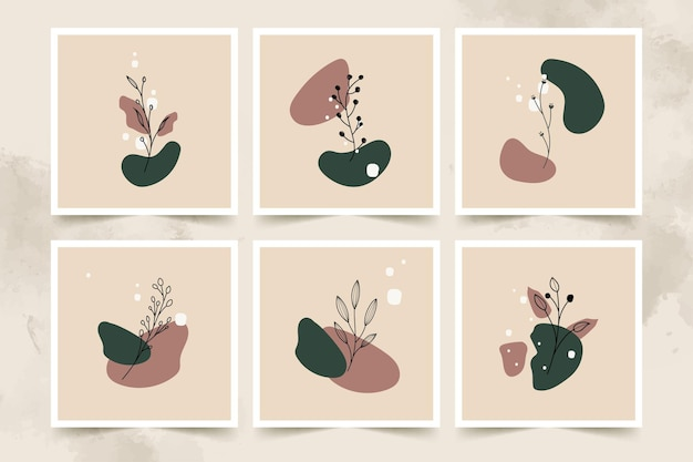 추상 미니 멀리 즘 꽃과 나뭇잎 포스터 세트