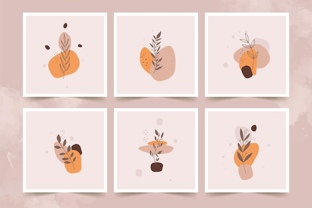 Abstract minimalist flower  posters set