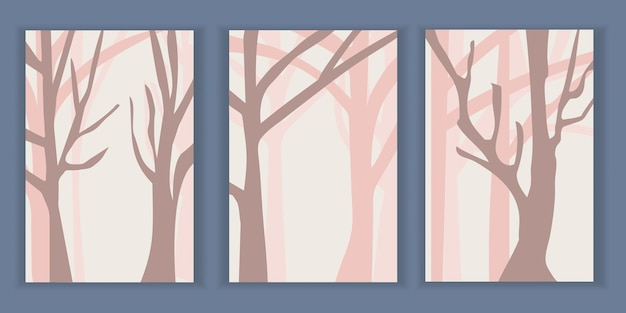 Abstract minimalist landscape posters with pink trees in the forest