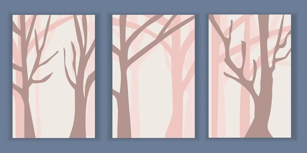 숲에 분홍색 나무가 있는 추상 미니멀리스트 풍경 포스터