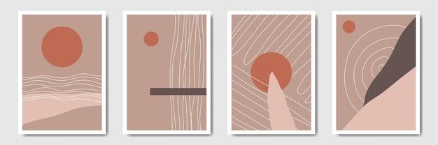 태양 벽 장식 컬렉션과 추상 미니멀 현대 라인 아트