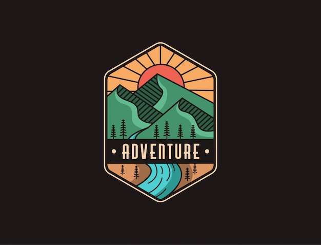 Abstract minimalist mountain and river landscape adventure logo