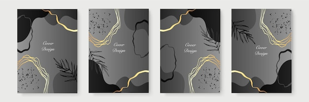 Abstract minimalist poster collection with golden floral lines on black background. luxury banner design. a4 size. ideal for flyer, packaging, invitation, cover, business card