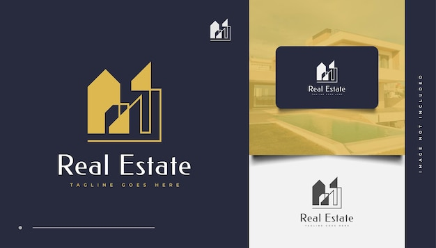 Abstract and minimalist real estate logo design. construction, architecture or building logo