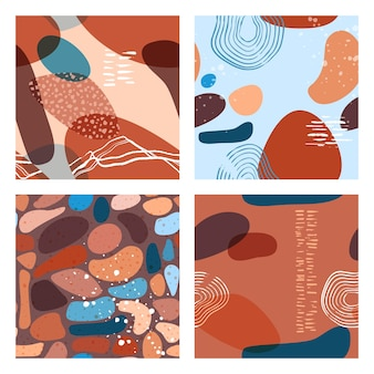 Abstract minimalist seamless pattern with trendy style overlay shapes, using for social media, stories template, decoration, package, fabrics, textile, cover design. vector illustration.