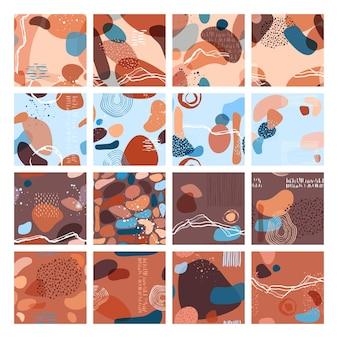 トレンディなスタイルのオーバーレイ形状の抽象的なミニマリストのシームレスなパターンベクトル図