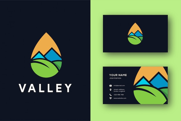 Abstract minimalist valley logo and business card