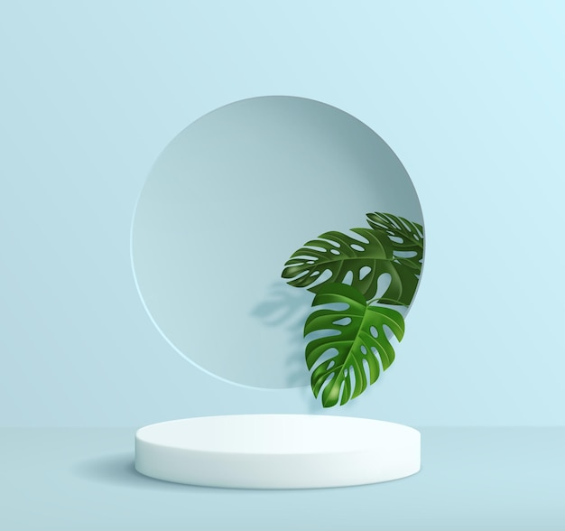 Abstract minimalistic background with a pedestal in blue tones. empty podium for product display with tropical monstera leaf decorations.