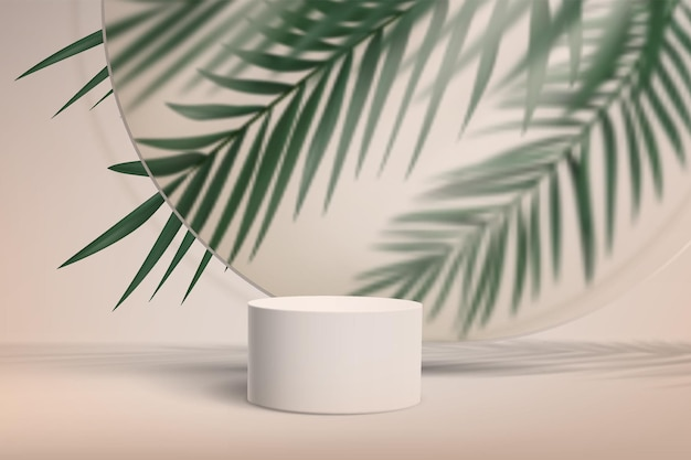 Abstract minimalistic background with pedestal for product showcase with palm leaves behind glass