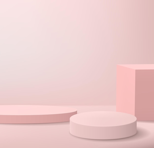Abstract minimalistic background with podiums in pink colors. empty pedestals for product display.