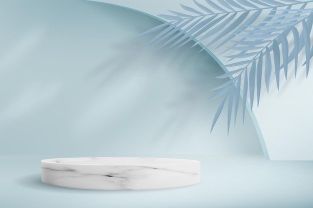 Abstract minimalistic blue background with marble podium. empty pedestal for product display with palm leaves.