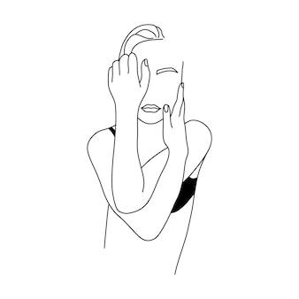 Абстрактная минималистичная женская фигура в нижнем белье. векторная иллюстрация моды женского тела в модном линейном стиле. элегантное искусство. для постеров, татуировок, логотипов магазинов нижнего белья.