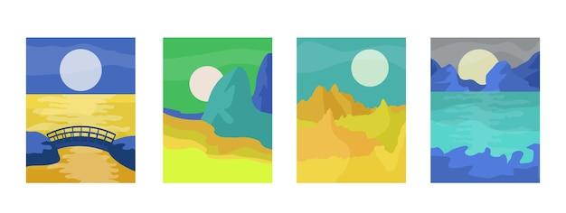 Абстрактные минималистичные пейзажи с декорациями стен в стиле бохо, солнце, луна, море, горы