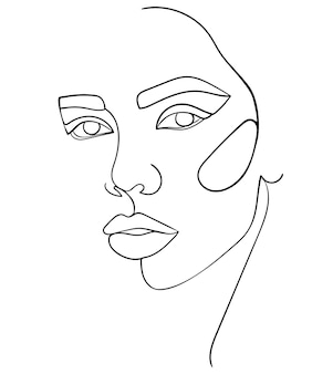 추상 최소한의 선형 스케치입니다. 여자의 얼굴입니다. - 벡터 일러스트 레이 션