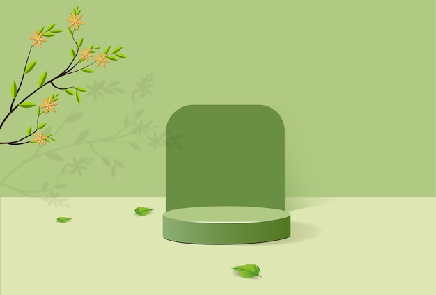 Abstract minimalistic podium with geometric shapes. cylindrical podium on green background and green plant leaves