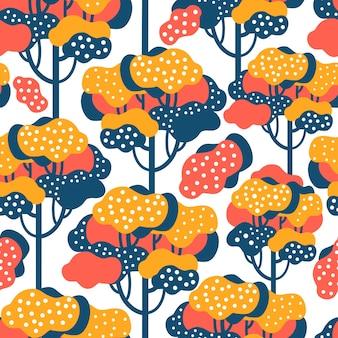 秋の森の抽象的なミニマルなシームレスパターン。