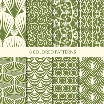 繰り返し構造のさまざまな緑の幾何学的形状で設定された抽象的なミニマルなヴィンテージシームレスパターン