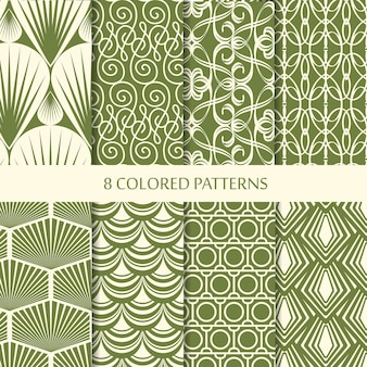 Abstract minimalistic vintage seamless patterns set with different green geometric shapes of repeating structure
