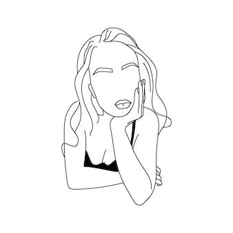 Абстрактная минималистичная фигура женщины в нижнем белье. векторная иллюстрация моды женского тела в модном линейном стиле. элегантное искусство. для постеров, татуировок, логотипов магазинов нижнего белья.