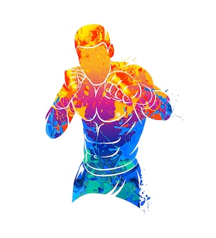 水彩画のスプラッシュから抽象的な総合格闘技の戦闘機。塗料のイラスト。