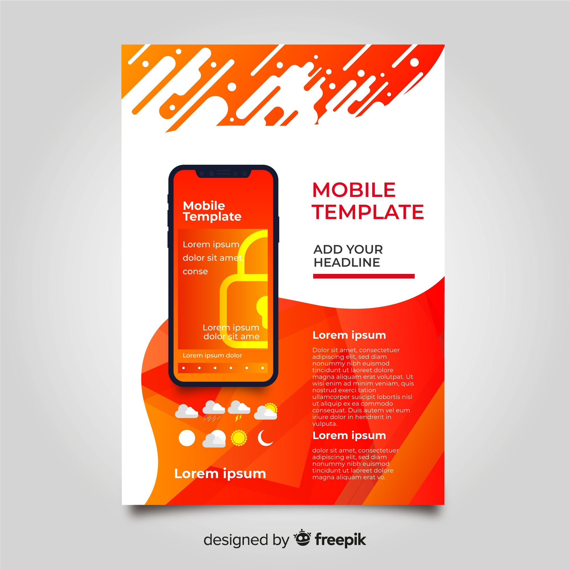 Abstract mobile phone app flyer